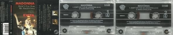 madonna don't cry for me argentina cassette single uk