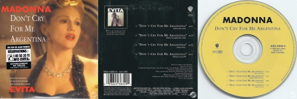 madonna don't cry for me argentina cd single francia