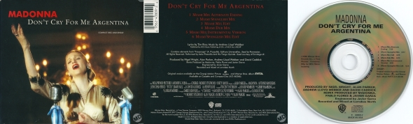 madonna don't cry for me argentina maxi single usa