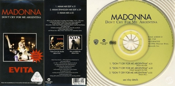 madonna don't cry for me argetina cd 3 pulgadas tailandia