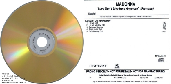 madonna love dont live here anymore promo cd usa