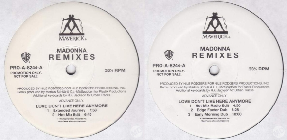 madonna love dont live here anymore promo lp remixes 2 usa