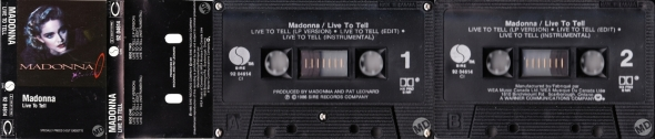 madonna live to tell cassette single canada